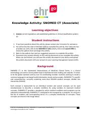 SNOMED CT (Associate)_HAK1008 1 docx - Knowledge Activity