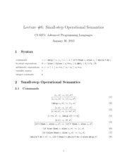 lecture Small-step Operational Semantics