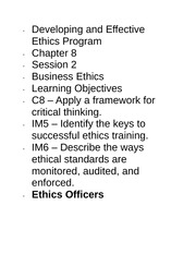 Developing and Effective Ethics Program