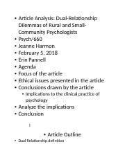 Article Analysis-Dual Relationship Dilemmas of Rural and Small-Community Psychologist.docx