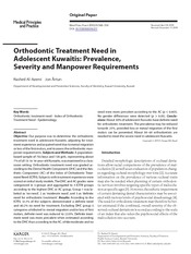 12 Orthodontic treatment need in adolescent kuwaitis