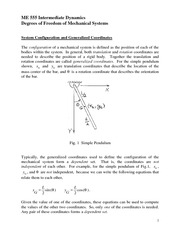Degrees of Freedom of Mechanical Systems Review