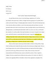 Argument Paper--North Carolina's Relationship With Refugees-.docx