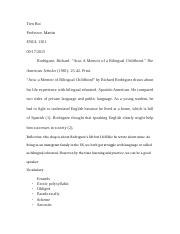 an analysis of the life of richard rodriguez and the essay aria a memoir of a bilingual childhood Analysis essay of aria by richard rodriguez academic writing m antoniadou 29th october2012 analysis essay of aria by richard rodriguez (2nd draft) this essay, titled aria, originally published in 2008, is an autobiographic essay of the author's childhood, richard rodriguez.