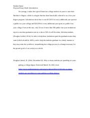 SAMPLE proposal essay draft. introduction