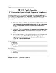 SP+1315-2nd+Persuasive+Speech+Topic+Approval+Worksheet-Summer+2014