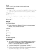 BIO 360 Chapter 3 - Ecological and Evolutionary Principles of Marine Biology Notes