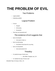 The Problem of Evil notes