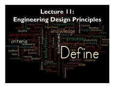 Lecture 12 Engineering Design Principles Section 1