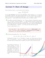 Math1a Spring 2014 Lecture 7 Rate of Change