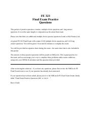 FE Practice Final & Solutions