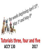 Tutorials three, four  and five 2017 Tri one