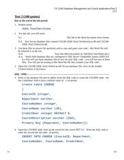 CS 2240 - 2 SQL - Test 2 (for students) 2014 EASY VERSION