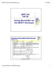 10 - Using DN on the MFET Conveyor - Fall 09
