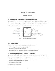 Lecture 10 on Operational Amplifier Rules