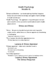 Module 41 Stress and Illness