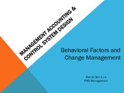 management accounting & control SYSTEM DESIGN