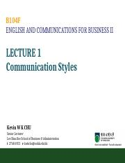 B104F Lecture 01 Communication Styles