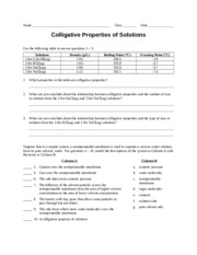 Worksheet - Colligative Properties - the terms in Column B. Column ...