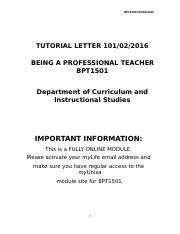 being a professional teacher bpt1501