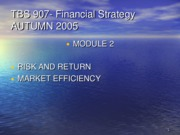 TBS 907 Lecture Slides- Lecture 2- Module 2- Risk and Return- Autumn 2005