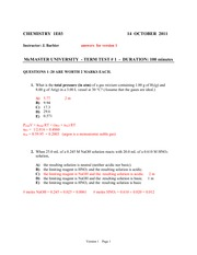 Chemistry 1E03 Test One Solutions