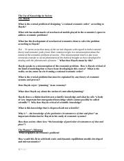 HAYEK-Use of Knowledge - STUDENT Diss Questions 03 DEC 2009