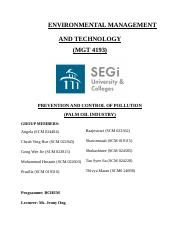 ENVIRONMENTAL MANAGEMENT AND    TECHNOLOGY report