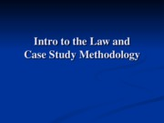 Lecture Notes - Intro to Course and the Law