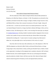 Virginia Woolf Production History Research Paper