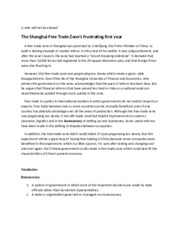 Current Events - Shanghai's Free Trade Zone frustrating first year