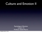 Emotion Lecture 14 2008 Culture and Emotion II