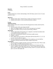 Binary Numbers Lesson Plan