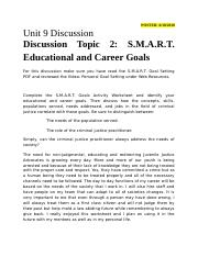 Unit 9 Discussion Topic 2 - S.M.A.R.T. Educational and Career Goals.docx