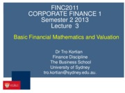 FINC2011 Lecture 3 - Time Value