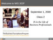 F09-Class-02-IS in the Life of Business Professionals