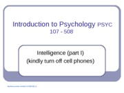 Lecture 10 Intelligence