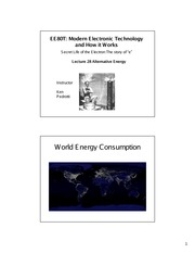 Lecture 18 - Alternative Energy