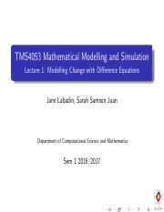 TMS4053 Mathematical Modelling and Simulation - Lecture 1_ Modelling Change with Difference Equation
