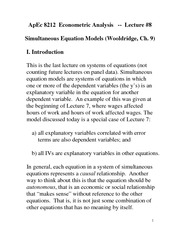 Simultaneous Equation Model Notes