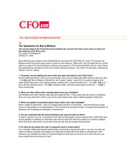 Ten Questions for Barry Minkow (CFO, 2005)