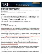 Monster Beverage Shares Hit High on Strong Overseas Growth - WSJ.pdf