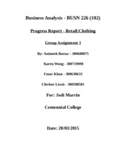 Group Assignment 2 Progress Report_BUSN 226_WINTER 2015_Retail Industry