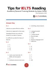 Ielts Journal - Tips for IELTS Reading Academic General Training Module Answer Key by Adam Smith
