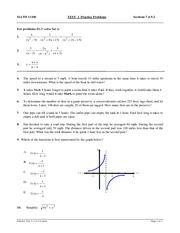 Practice Exam Covering Solving and Graphing Equations