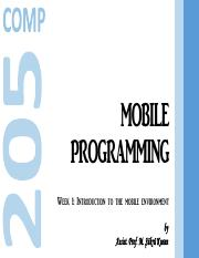 Mobile Programming, Part 1