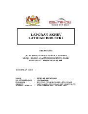 Finalized Report Docx Laporan Akhir Latihan Industri Organisasi Delta Maintenance Service Sdn Bhd No 321 Blok 3 Laman Seri Business Park Seksyen 13 Course Hero