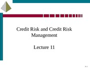 Lecture11-Credit Risk and CDS
