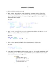 Homework Ch.7 SQL for Database Construction and Application Processing