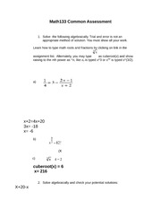 Math133 Common Assessment